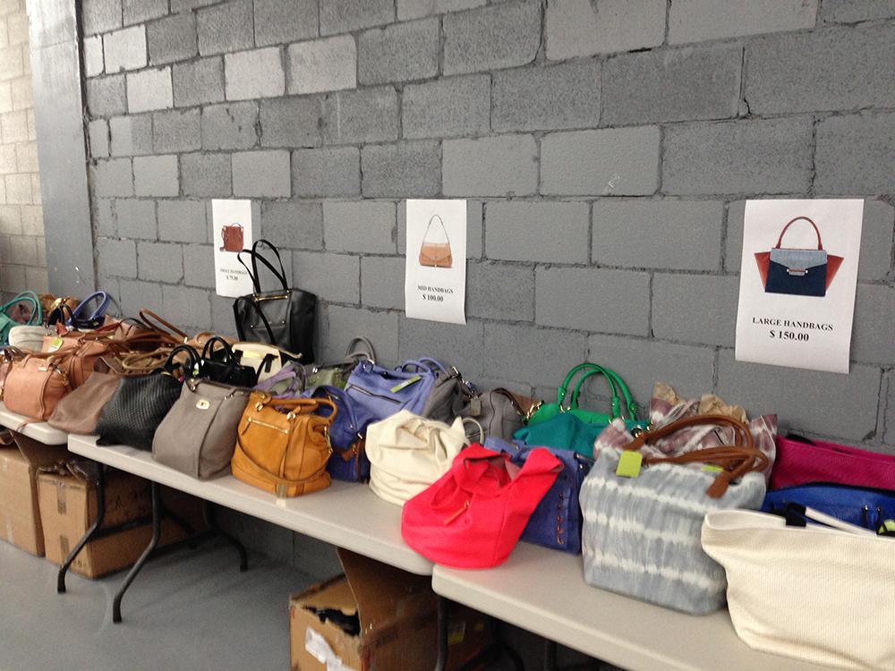 Handbags (regular price $150-$400) at $75, $100 or $150.