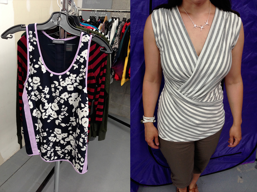 Flowery camisole (regular $99) and striped shirt at $30 each.