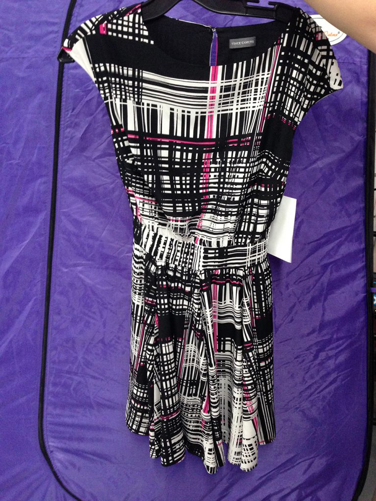 Black, white and pink dress at $60.