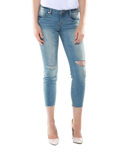 DEXED OUT Distressed Skinny Crop Jeans on sale at $44.85 (reg. $69)